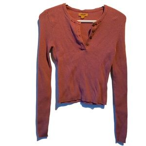 Harlow V-neck Sweater top soft rib long sleeve L